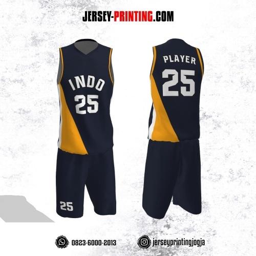 Jersey Basket Dongker Corak Kuning Putih