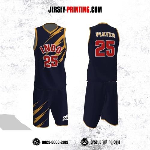Jersey Basket Dongker Motif Kilat Orange