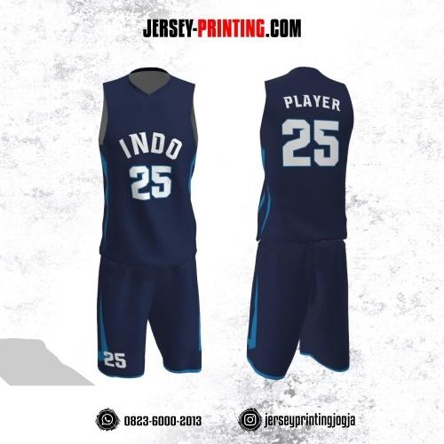 Jersey Basket Dongker Motif Line Biru
