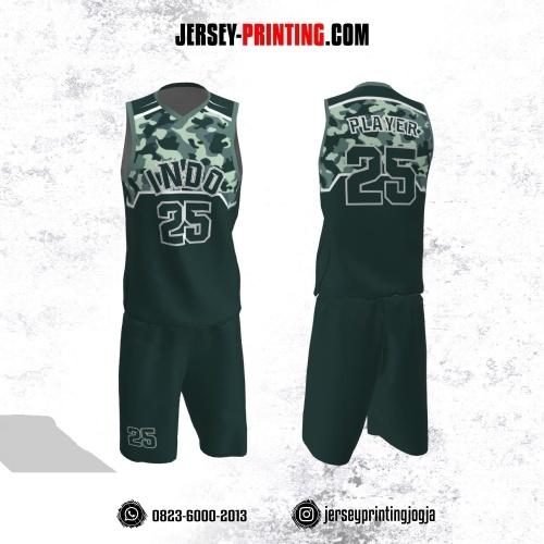 Jersey Basket Hijau Tua Putih Motif Loreng