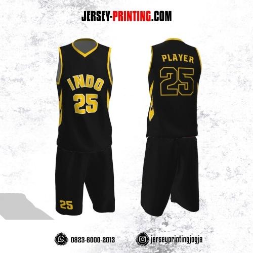 Jersey Basket Hitam Corak Kuning