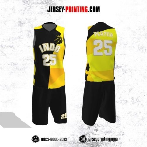 Jersey Basket Hitam Corak Kuning Kombinasi