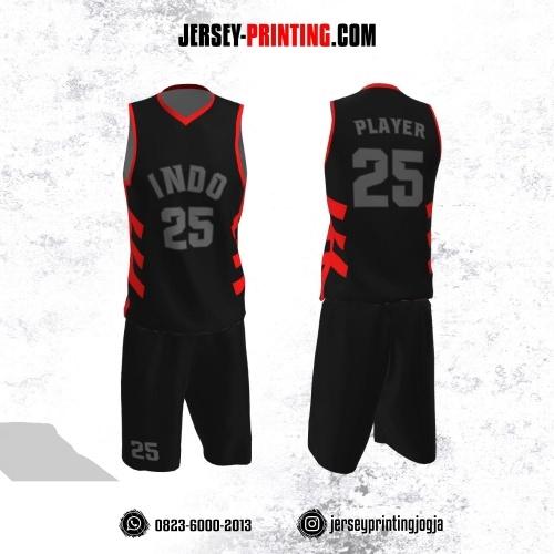 Jersey Basket Hitam Corak Merah