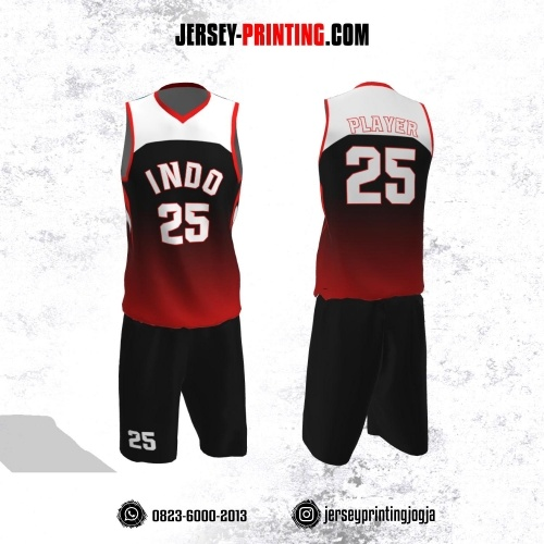 Jersey Basket Hitam Corak Merah Putih