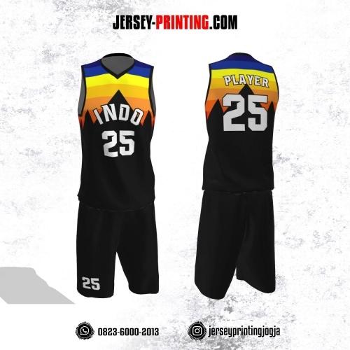 Jersey Basket Hitam Corak Orange Kuning Biru