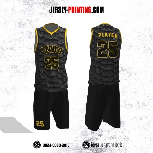 Jersey Basket Hitam Kuning Motif Sisik