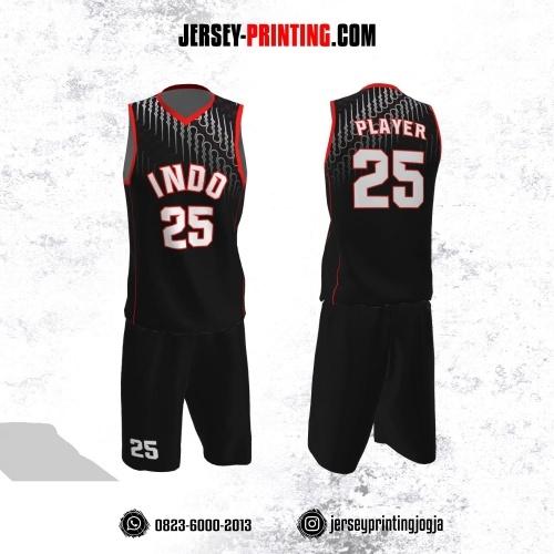 Jersey Basket Hitam Merah Putih Motif Batik