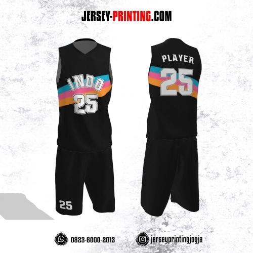Jersey Basket Hitam Motif Garis Biru Pink Orange