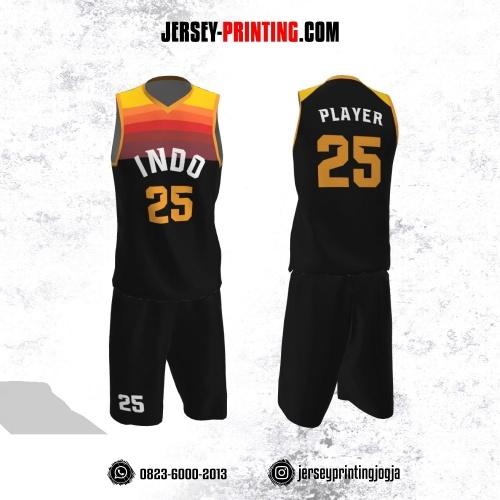 Jersey Basket Hitam Motif Gradasi Kuning Orange Merah