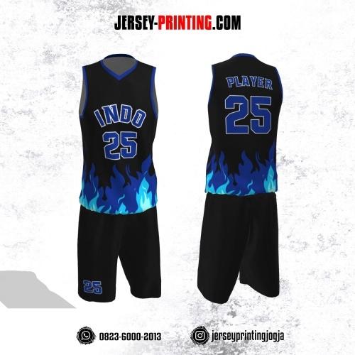 Jersey Basket Hitam Motif Kobaran Api Biru