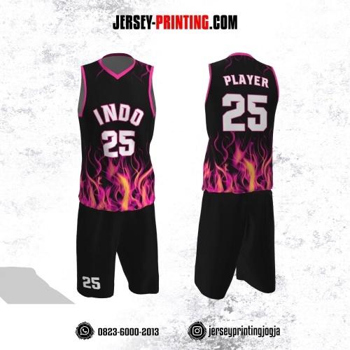 Jersey Basket Hitam Motif Kobaran Api Pink Kuning
