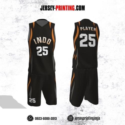 Jersey Basket Hitam Motif Line Orange Abu-abu