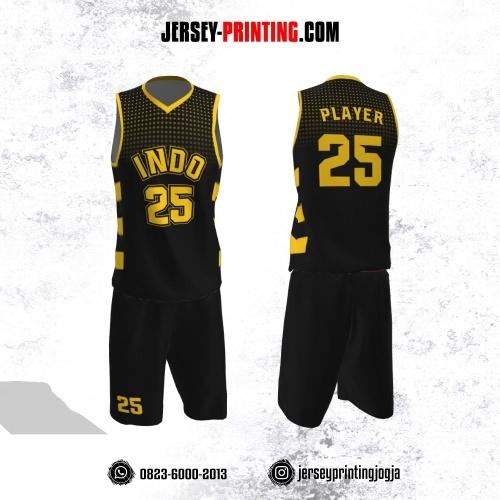 Jersey Basket Hitam Motif Polkadot Kuning