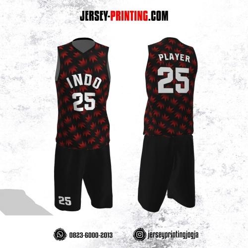 Jersey Basket Hitam Motif Seamless Merah