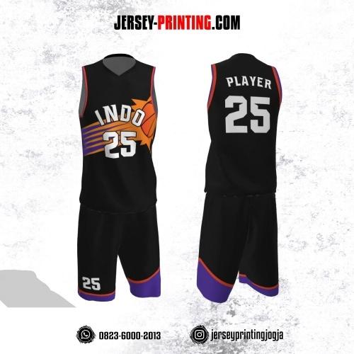 Jersey Basket Hitam Orange Ungu Motif Garis