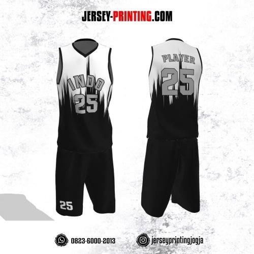 Jersey Basket Hitam Putih Motif Brush