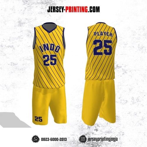 Jersey Basket Kuning Motif Diagonal Stripe Biru Navy
