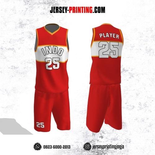 Jersey Basket Merah Putih Line Kuning