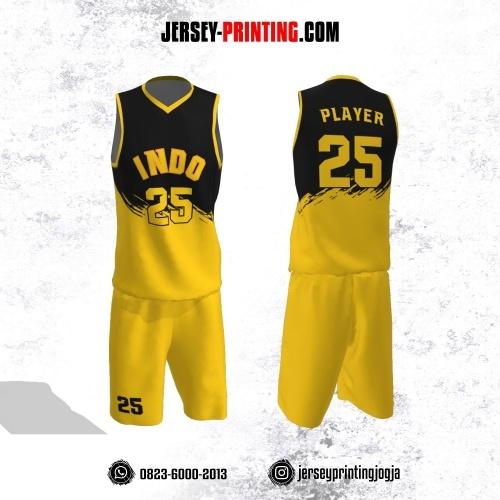 Jersey Basket Motif Brush Kuning Hitam
