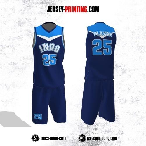 Jersey Basket Navy Corak Biru Putih