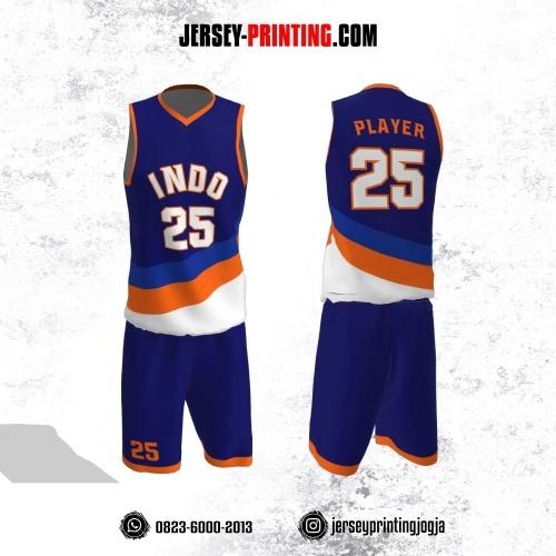 Jersey Basket Navy Corak Orange Putih