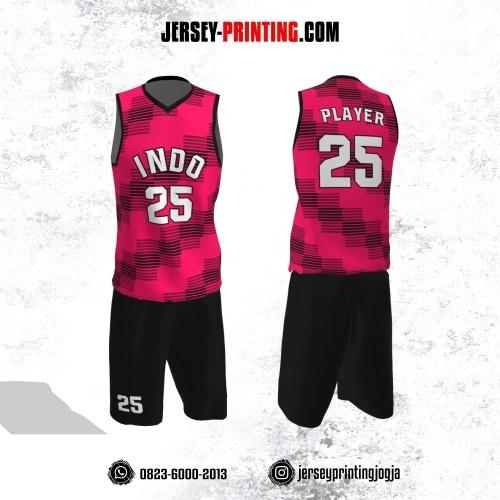 Jersey Basket Pink Motif Geometris Stripe Hitam