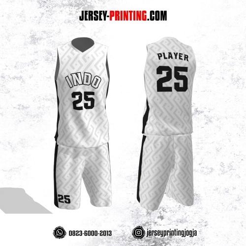 Jersey Basket Putih Abu-abu Motif Seamless