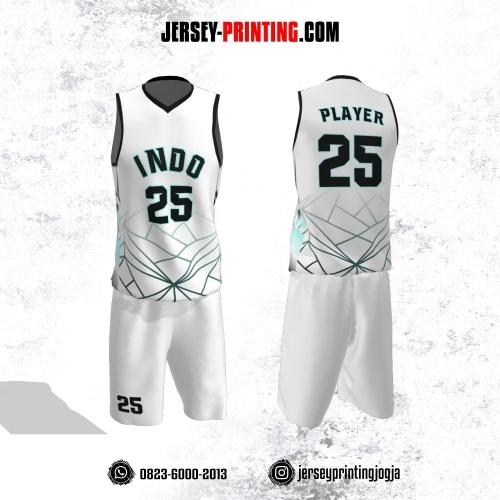 Jersey Basket Putih Motif Garis Abstrak Hitam