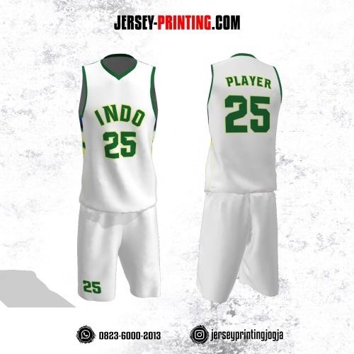 Jersey Basket Putih Motif Garis Hijau