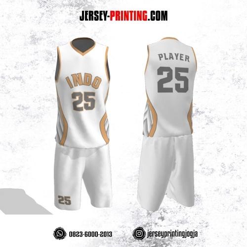 Jersey Basket Putih Motif Line Krem