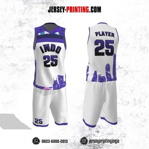 Jersey Basket Putih Ungu Motif Garis Abstrak