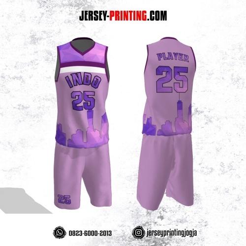 Jersey Basket Ungu Lilac Putih Motif Garis