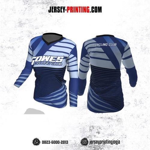Jersey Cewek Gowes Sepeda Biru Kombinasi Hitam Motif Stripe Lengan Panjang