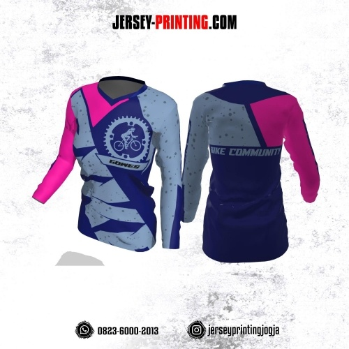 Jersey Cewek Gowes Sepeda Biru Navy Pink Motif Bercak Lengan Panjang