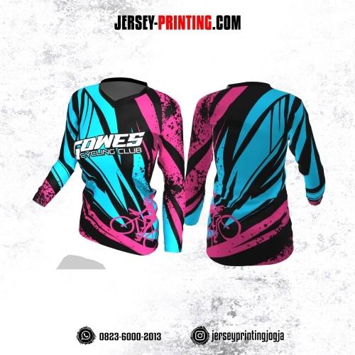 Jersey Cewek Gowes Sepeda Biru Pink Hitam Motif Splash Tinta Lengan Panjang