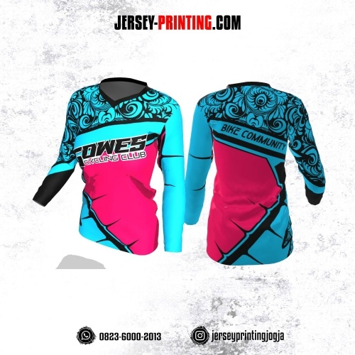 Jersey Cewek Gowes Sepeda Biru Pink Motif Batik Hitam Lengan Panjang