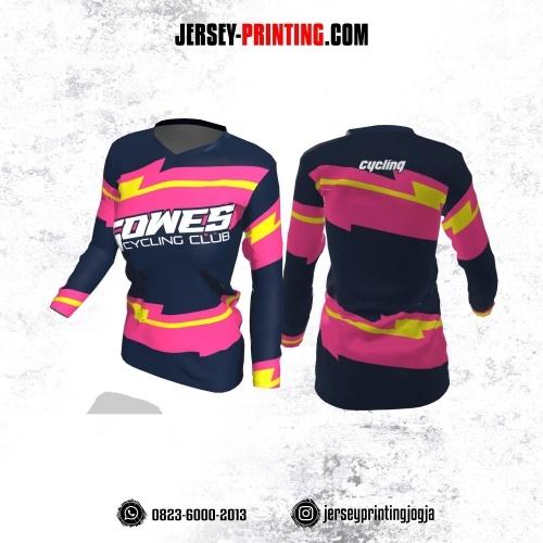 Jersey Cewek Gowes Sepeda Dongker Motif Kilat Pink Kuning Lengan Panjang
