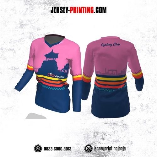 Jersey Cewek Gowes Sepeda Dongker Pink Motif Garis Orange Kuning Lengan Panjang