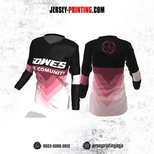 Jersey Cewek Gowes Sepeda Hitam Corak Pink Gradasi Lengan Panjang