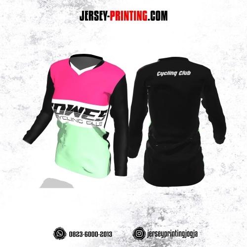 Jersey Cewek Gowes Sepeda Hitam Corak Pink Hijau Putih Lengan Panjang