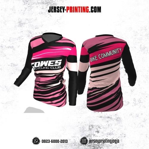 Jersey Cewek Gowes Sepeda Hitam Corak Pink Kombinasi Lengan Panjang