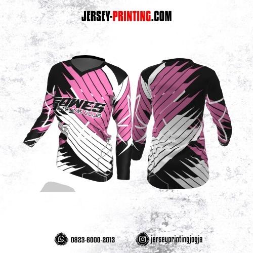 Jersey Cewek Gowes Sepeda Hitam Dusty Pink Putih Motif Garis Lengan Panjang