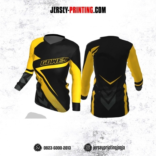 Jersey Cewek Gowes Sepeda Hitam Kuning Motif Garis Lengan Panjang