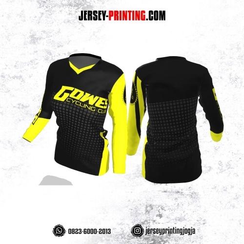 Jersey Cewek Gowes Sepeda Hitam Kuning Motif Geometris Abu-abu Lengan Panjang
