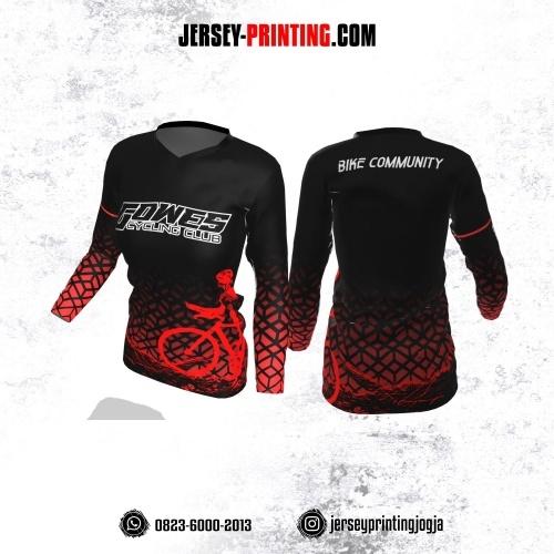 Jersey Cewek Gowes Sepeda Hitam Merah Motif Seamless Lengan Panjang