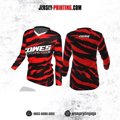 Jersey Cewek Gowes Sepeda Hitam Motif Kilat Merah Lengan Panjang
