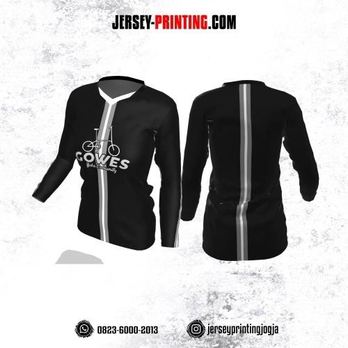 Jersey Cewek Gowes Sepeda Hitam Motif Line Abu-abu Putih Lengan Panjang