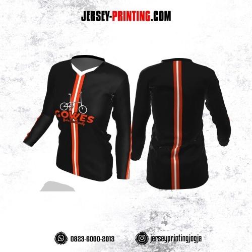 Jersey Cewek Gowes Sepeda Hitam Motif Line Orange Putih Lengan Panjang