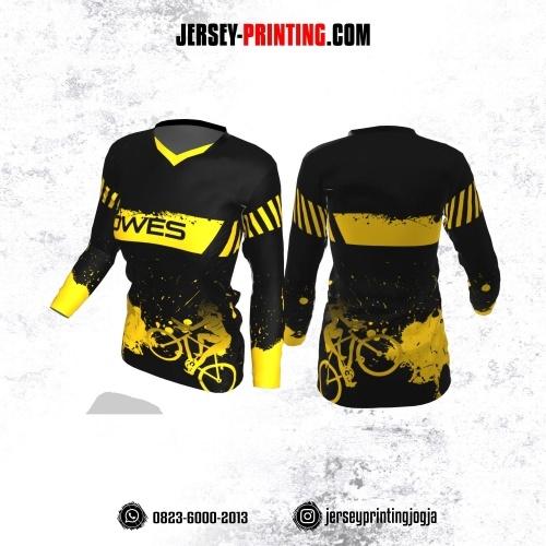 Jersey Cewek Gowes Sepeda Hitam Motif Splash Tinta Kuning Lengan Panjang