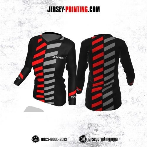 Jersey Cewek Gowes Sepeda Hitam Motif Strip Merah Abu-abu Lengan Panjang
